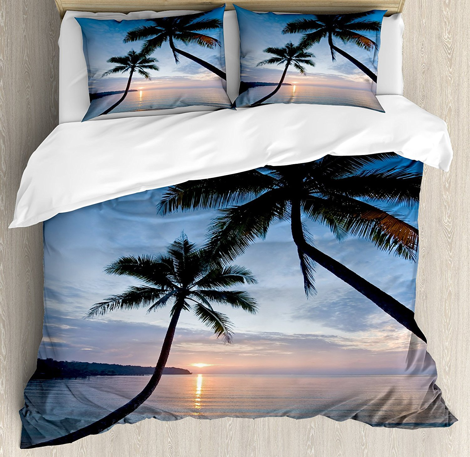Tropical Duvet Cover Set, Sunset over Ocean Calm Exotic Beach in Kut Island Thailand Summertime, 4 Piece Bedding Set