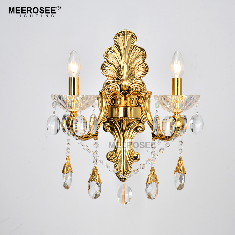 Gold Crystal Wall Lamp Sconces Crystal Light Fixture 2 Arms Silver Home Lighting Deco Maison Wall Penteadeira Bracket Bra LightGold Crystal Wall Lamp Sconces Crystal Light Fixture 2 Arms Silver Home Lighting Deco Maison Wall Penteadeira Bracket Bra Light