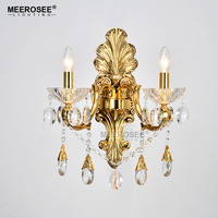 Gold Crystal Wall Lamp Sconces Crystal Light Fixture 2 Arms Silver Home Lighting Deco Maison Wall Penteadeira Bracket Bra Light