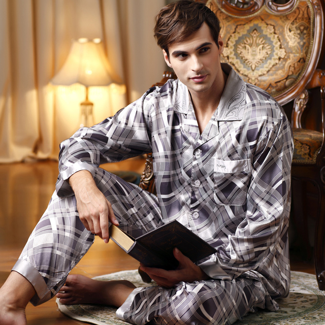 ПРОДАЖА Высокое Качество 2016 Пижамы Мужчин Бренд Шелка Pijama Мужчины Полосой Пижамы мужские Пижамы Наборы Мужская Повседневная Пижамы Бесплатно поставка