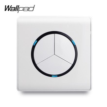 L6 White Classic 3 Gang 1 Way 2 LED Indicator Random Click Push Button Wall Light Switch