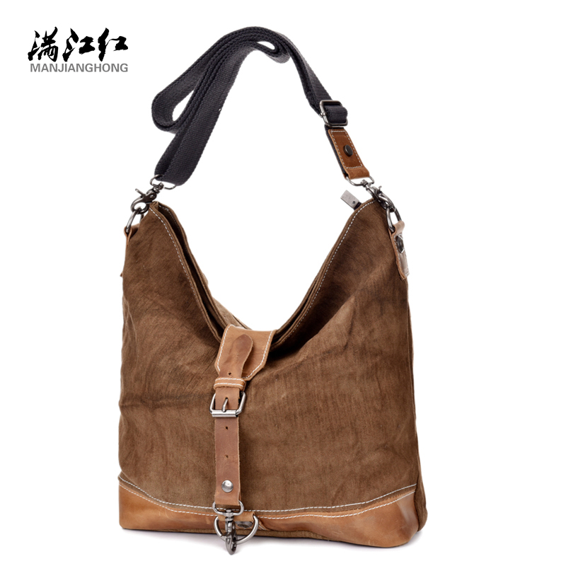 ФОТО Manjianghong Best Quality Leather Canvas Bag Washed Cotton Canvas Bag Man's Cow Leather Messenger Bag Dural Use 1529