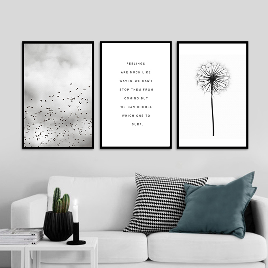 Abstract Landscape Quotes Canvas Painting Black White Poster Print ...