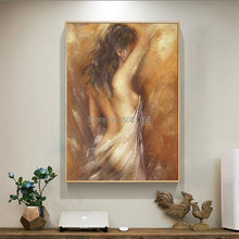 Hand Painted oil Painting Nude Woman Oil Canvas Old Brown Bedroom Wall Art Home Decor Girl Picture best gift hot sale