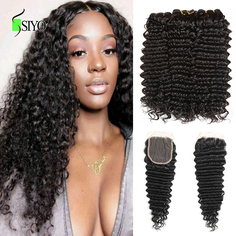 Siyo Brazilian Deep Wave 3 Bundles with Closure Wet and Wavy Human Hair Bundles with Lace Closure Deep Curly Hair Extension