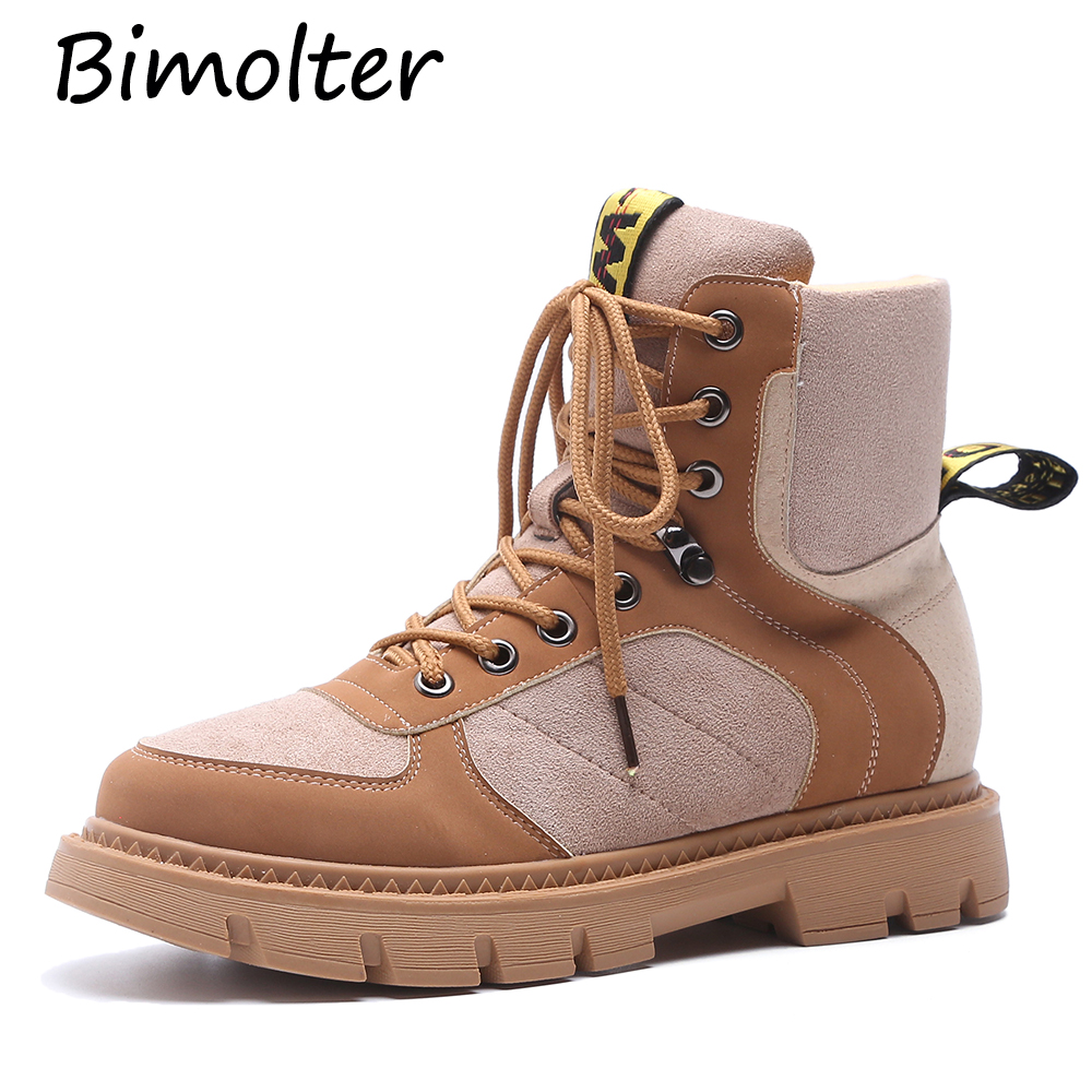Bimolter 2018 Fashion Women Ankle Boots Lace Up Platform Motorcycle Boots Comfortable Flat Heel Shoes Cool Ladies Boots LAEB059Bimolter 2018 Fashion Women Ankle Boots Lace Up Platform Motorcycle Boots Comfortable Flat Heel Shoes Cool Ladies Boots LAEB059