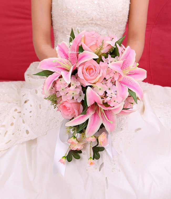 New Arrival Pink Ivory Lily Silk Wedding Bouquets Bridal In From Weddings Events On Aliexpress Alibaba Group