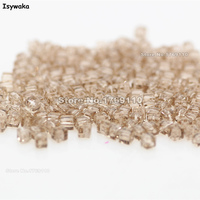 Isywaka 1980pcs Cube 2mm Tender Rose Color Square Austria Crystal Bead Glass Beads Loose Spacer Bead