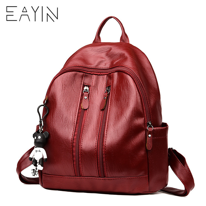 EAYIN Women Backpack PU Leather School Bags for Teenage Girls Waterproof Shoulder Bags Brand Designer Travel Daypack Mochilas