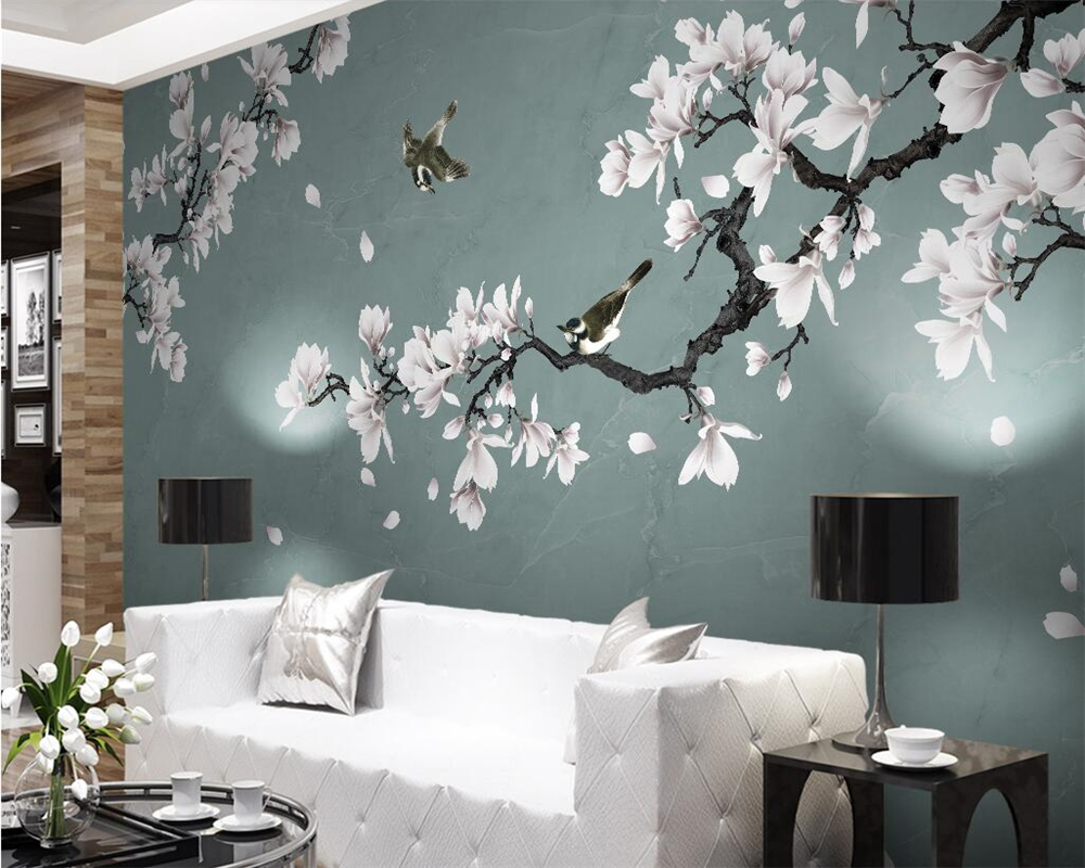 Beibehang Custom wallpaper mural magnolia hand-painted pen flower bird TV background wall living room bedroom mural 3d wallpaper free shipping custom modern 3d mural bedroom living room tv backdrop wallpaper wallpaper ktv bars statue of liberty in new york