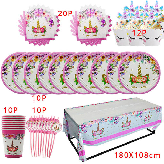 Girl Birthday Party Pink Unicorn Paper Plate Cup Napkin Disposable Tableware Sets Baby Shower