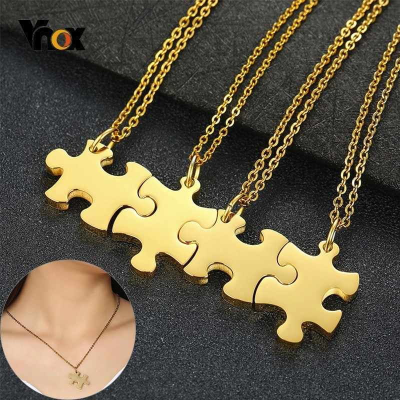 Vnox 2/3/4/5 pcs Necklaces Set Personalize Name BFF Necklaces for Women Men Stainless Steel Heart Puzzle Pendants Special Gift