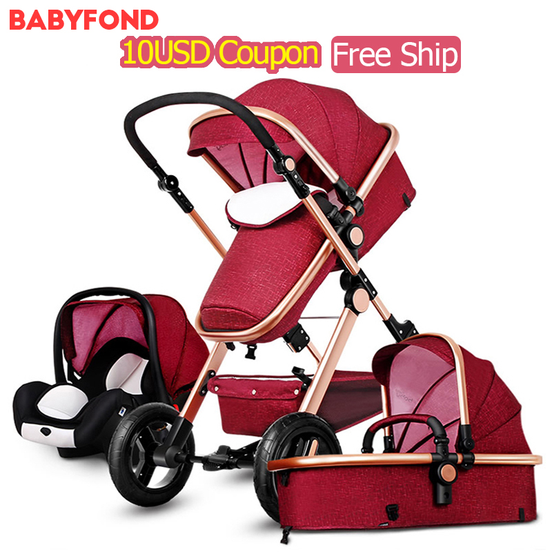 Asia Country Free! Baby New Arrival Brand Baby Strollers 3 In 1 Carriage Super Light Car High Landscape Ultra Eu standard цены