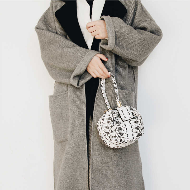d7238e30249c ... Burminsa Vintage Snake Skin Small Genuine Leather Handbags Women Python Print  Tote Bags Phone Ladies Hand ...