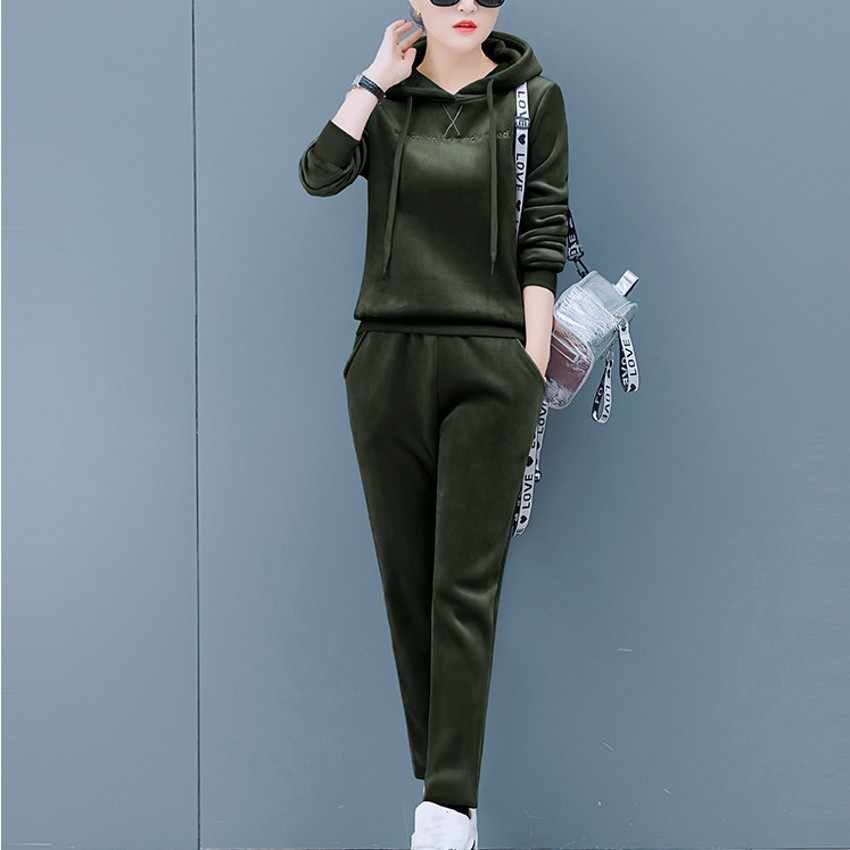 56de697810 Zmvkgsoa Plus Size 4XL 5 Color Velvet Tracksuit Women 2 Piece Sets Letter  Hooded Sweatshirt + Pants Velour Sporting Suit Y10194