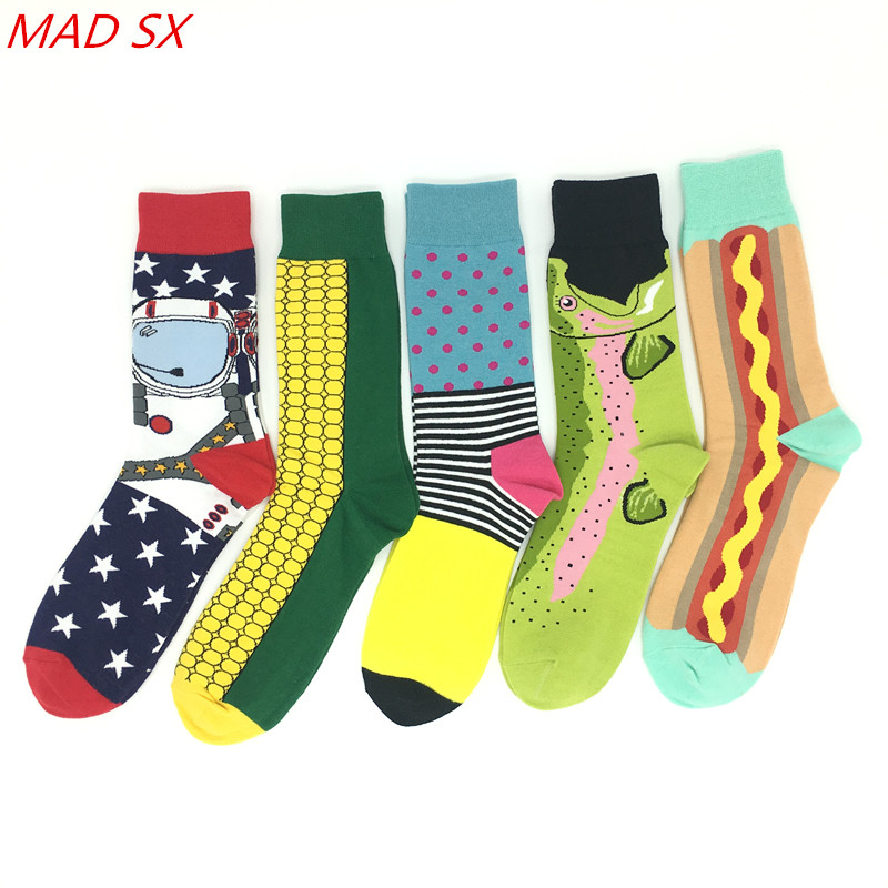 Men's Socks 5 Pair/lot Fashion Mens Colorful Cotton Socks Funny Novelty High Quality Casual Happy Socks Man Trend Design Dress Socks Rich In Poetic And Pictorial Splendor