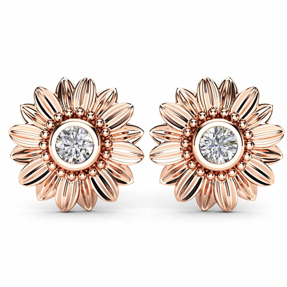 Huitan Cute Sunflower Stud Earrings with Daisy Design Clear Cubic Zirconia Prong Setting Fashion Party Earrings for Women Girls
