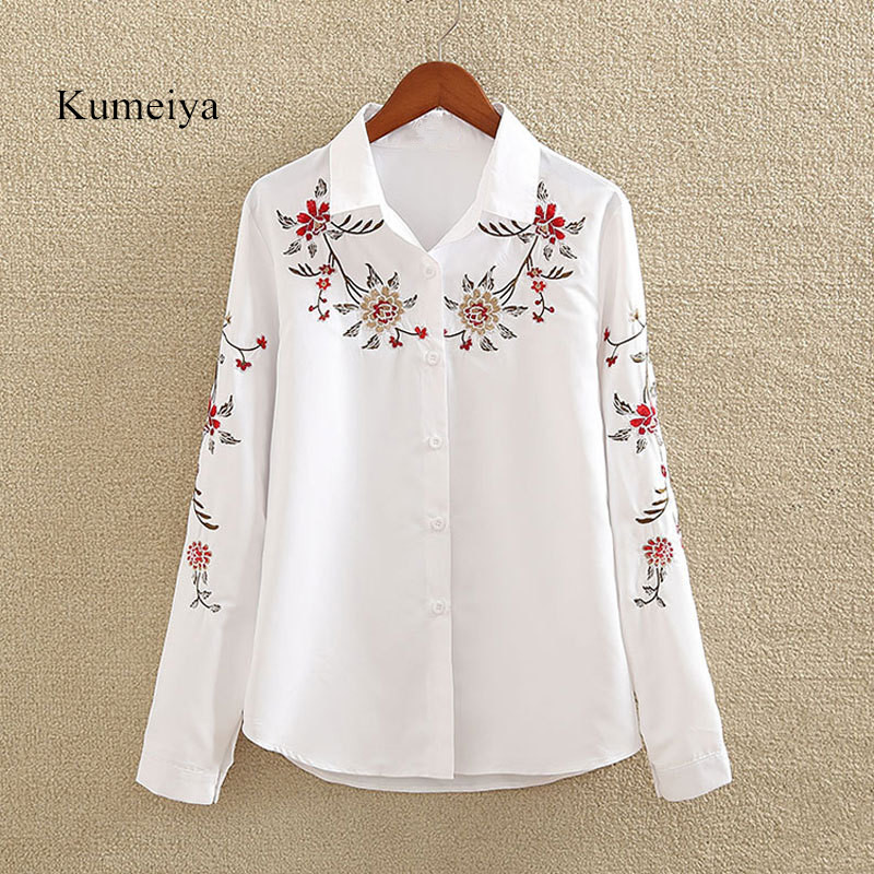 Kumeiya 2019 Autumn Floral Embroidery Blouse Shirt Women Slim White Tops Long Sleeve Blouses Woman Office Shirts Plus Size 5XL