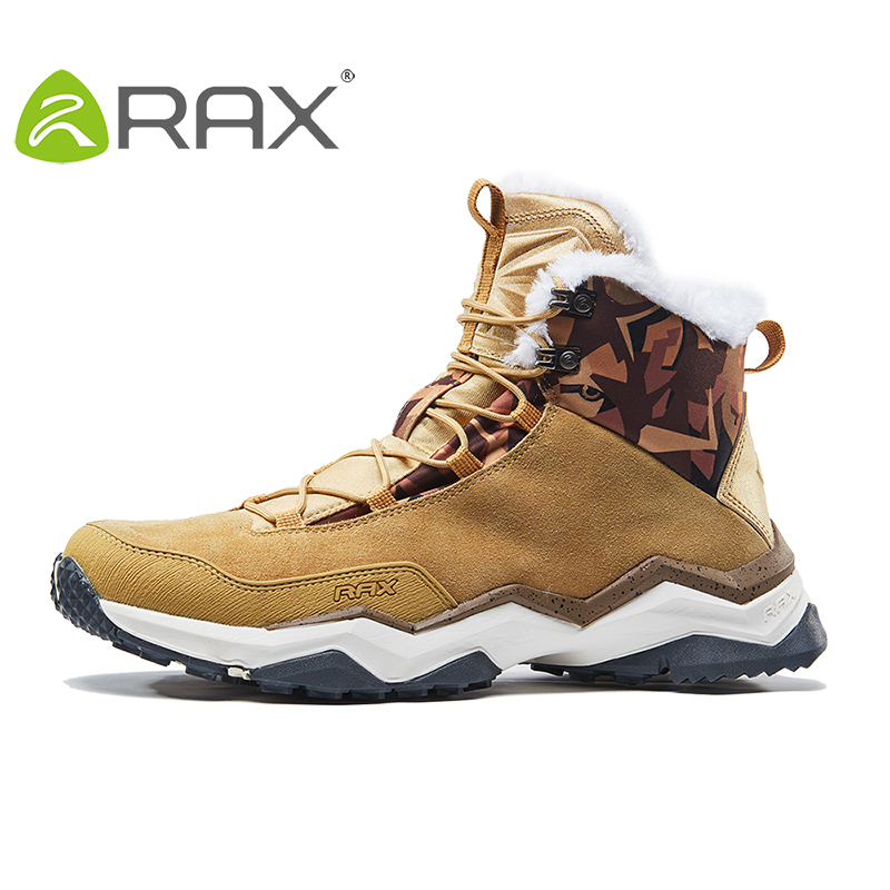 RAX Mens Winter Hiking Boots Mountain Breathable Hiking Shoes Fleece Walking Boots Snowproof Hiking Boots Outdoor Trekking Shoes yin qi shi man winter outdoor shoes hiking camping trip high top hiking boots cow leather durable female plush warm outdoor boot