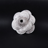 Luxury Brand Fashion Micro Pave Austrian Crystal Rhinestone Classic camellia Flower Brooches For Women Party Jewelry Gift