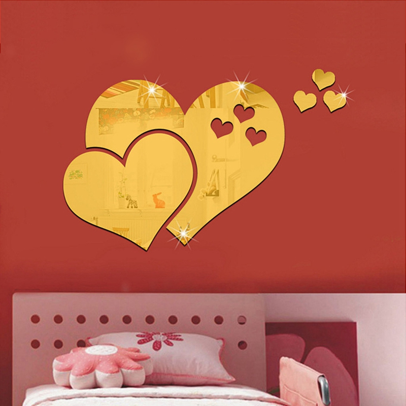 New Arrival 3D Mirror Wall Stickers Love Heart Wallpaper Art DIY ...