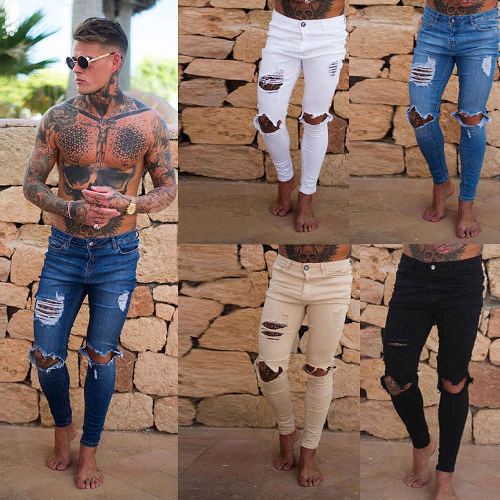 New Hole Jean Men Fashion Skinny Stretch Denim Pencil Pants Distressed Ripped Freyed Biker Slim Fit Jeans Trouser Size 28-36