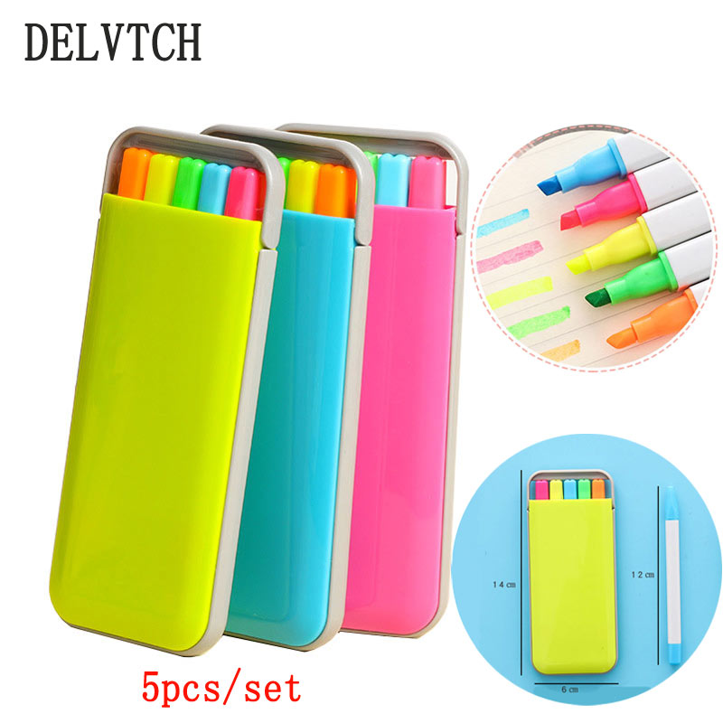 DELVTCH 5Colors/Set Cute Cartoon Highlighter Pen Color Marker Watercolor Pencil Office School For Children Gift
