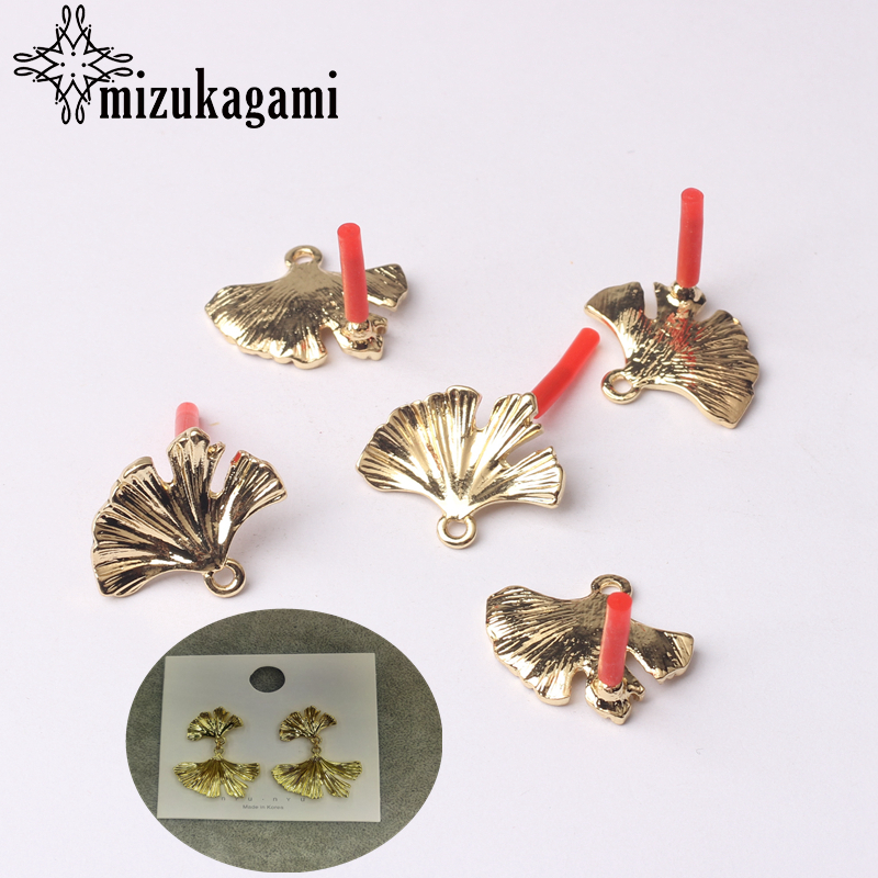 6pcs/lot Zinc Alloy Gold Metal Ginkgo Biloba Leaves Base Earrings Connector For DIY Tassel Earrings Jewelry Accessories