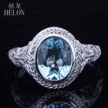 HELON Solid 10K White Gold 2.34ct 100% Genuine Blue Topaz Oval Cut 9x7mm Vintage Art Deco Engagement Wedding Ring Fine Jewelry