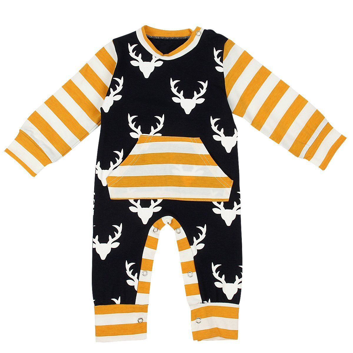 Autumn Newborn Kids Baby Boy Girl Warm Infant Long Sleeve Deer Striped Romper Cotton Jumpsuit Clothes Outfit newborn infant baby boy girl cotton romper jumpsuit boys girl angel wings long sleeve rompers white gray autumn clothes outfit