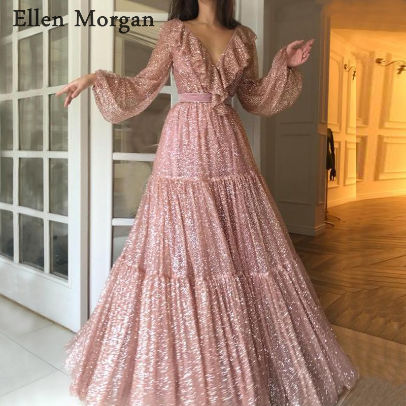 Saudi Arabia Long   Evening     Dresses   2019 Dubai Kaftan Crystal V Neck Floor Length Sparkling Party Gowns for Women Wear