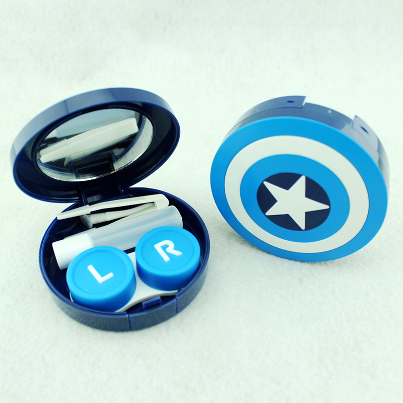 Hot Captain America Contact Lens Case With Mirror Contact Lenses Box Container For Lenses Birthday Gift For Girls and Boys 4