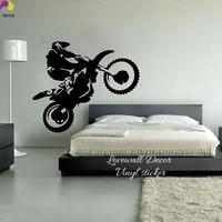 Motocross Muursticker Slaapkamer Jongen Kamer Crossmotor Dirtbike Moto Bike Muurtattoo Kinderkamer Baby Nursery Vinyl Home Decor Art DIY
