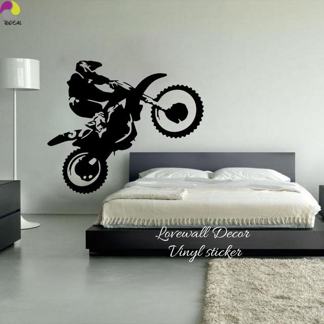Motocross Wall Sticker Bedroom Boy Room Dirtbike Moto Bike Decal Kids Baby
