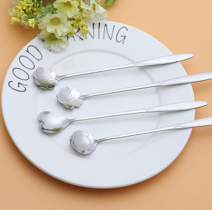 Rose Gold Fheaven 8Pcs Stainless Spoon Coffee Spoon Flower Shaped Dessert Spoon Ice Cream Candy Tea Spoon