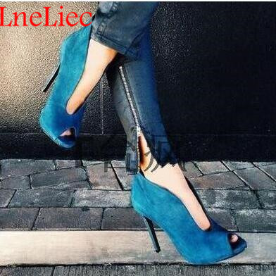 Best selling Women Stiletto V shaped Ankle Booties Peep Toe Suede Spring Autumn Lady High Heels Boots Slip on Sandals Shoes in Ankle Boots from Shoes