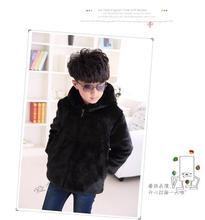 Free shipping new children whole skin rabbit fur warm coat male and female children in the long section hooded Discounted