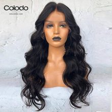 COLODO Middle Part Frontal Wig Brazilian Body Wave Human Hair With Babyhair Remy Hair Preplucked Lace Front Wigs For Black Women(China)