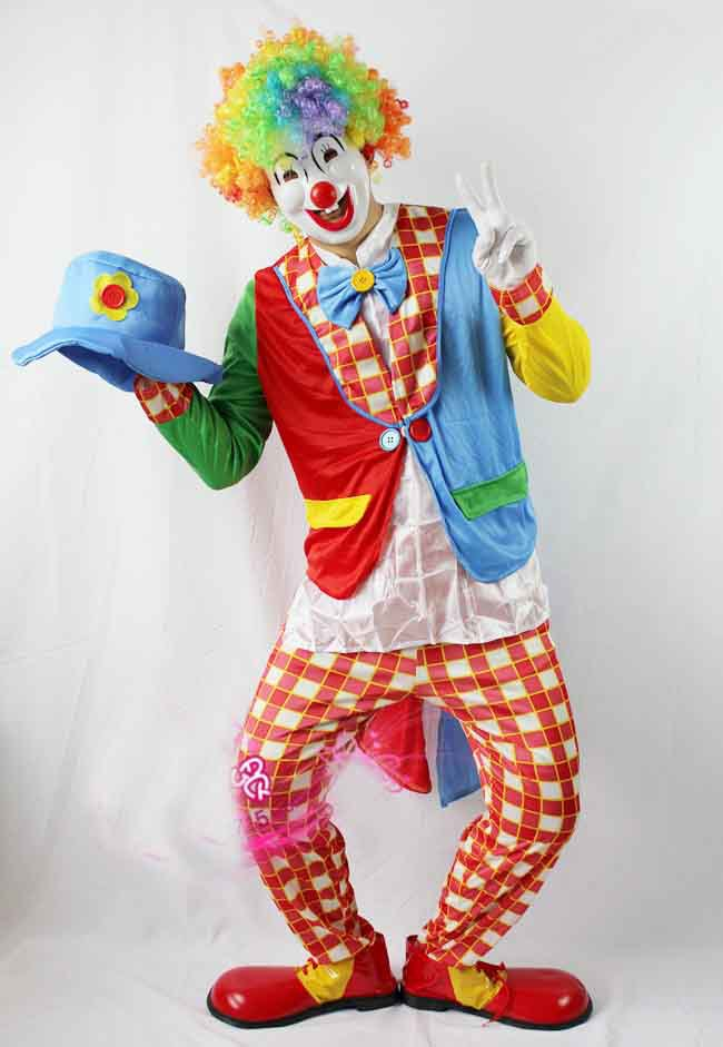 Free shipping,Cosplay adult Clown Costumes,clown clothes,,coat,trouses,mask,wig,glove,bow tie,hat,shoes
