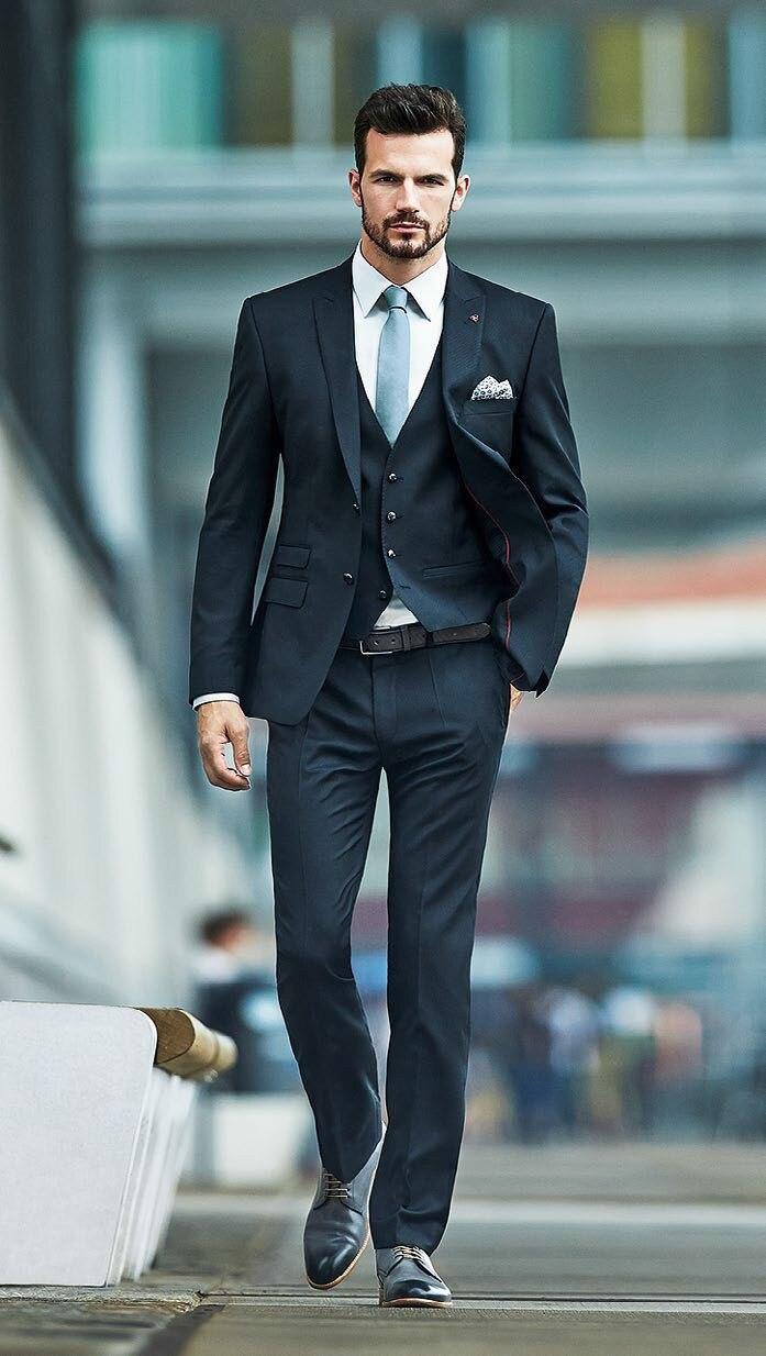 Kuum müük odav tahke must meeste ülikonnad sisaldab (jope + vest + - Meeste riided - Foto 1