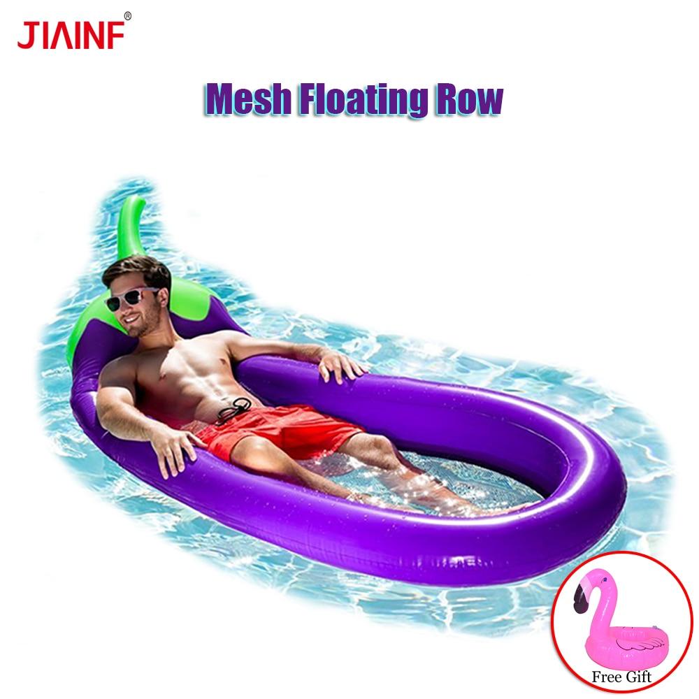 Matelas gonflable d'air d'aubergine de maille pour l'eau de piscine joue l'eau de natation matelas gonflable de matelas de plage flottant