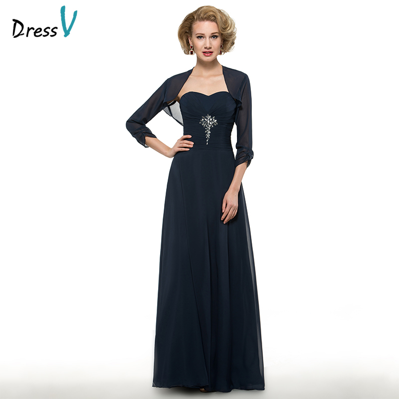 Simple And Elegant Wedding Dresses Boat Neck Three Quarter: Dressv Dark Navy Long Mother Of The Bride Dress Sweetheart