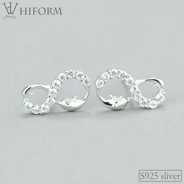 bdbe65a65700b US $3.89 22% OFF|925 Sterling Silver Cute Dolphin Animal Infinity Sutd  Earrings for Women/Girl Cubic zirconia Children Earrings Fashion Jewelry  -in ...