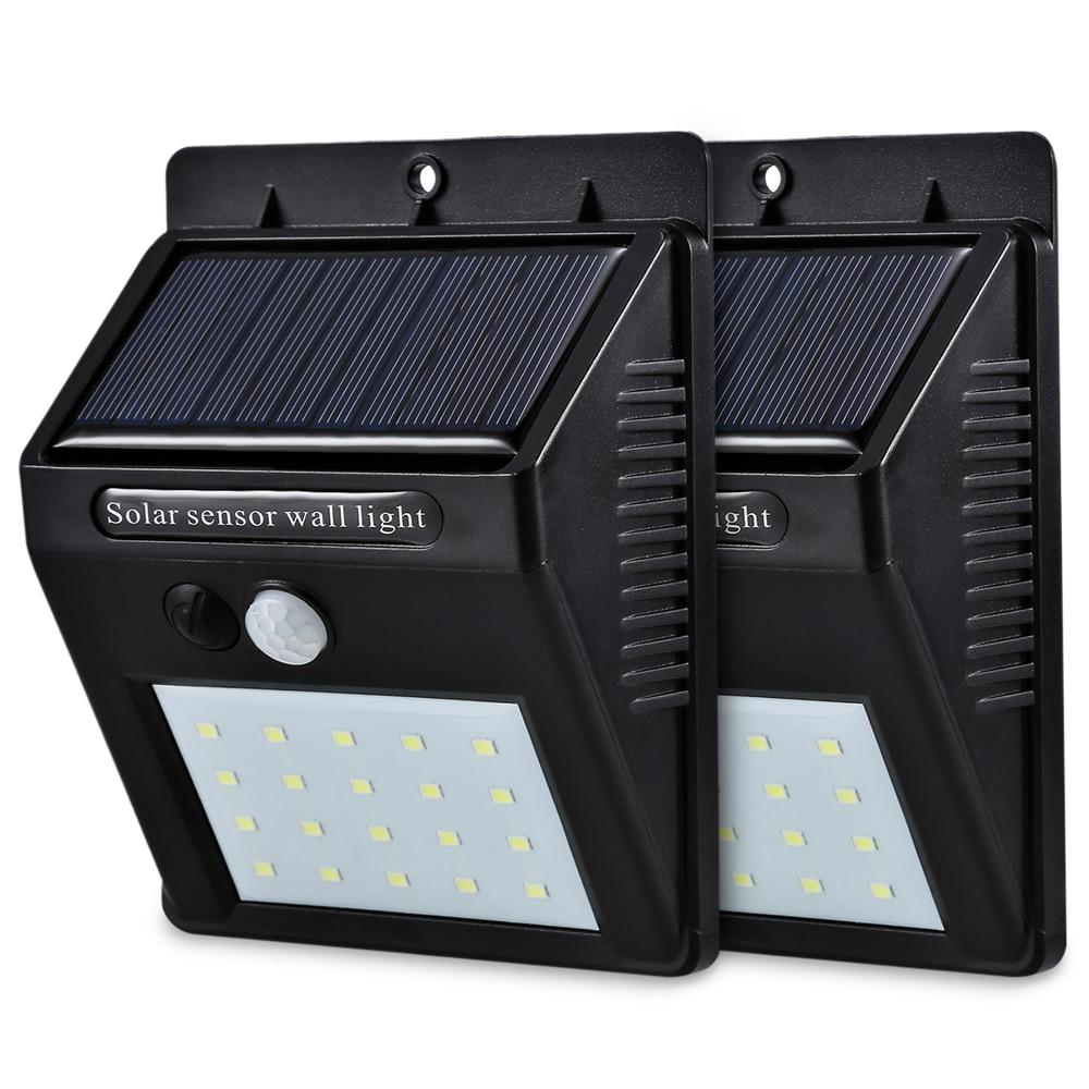 Светодиодный солнечный Мощность движения PIR Сенсор настенный светильник 20 светодиодный открытый Водонепроницаемый энергосберегающие уличные Двор Путь домашний сад безопасности лампа