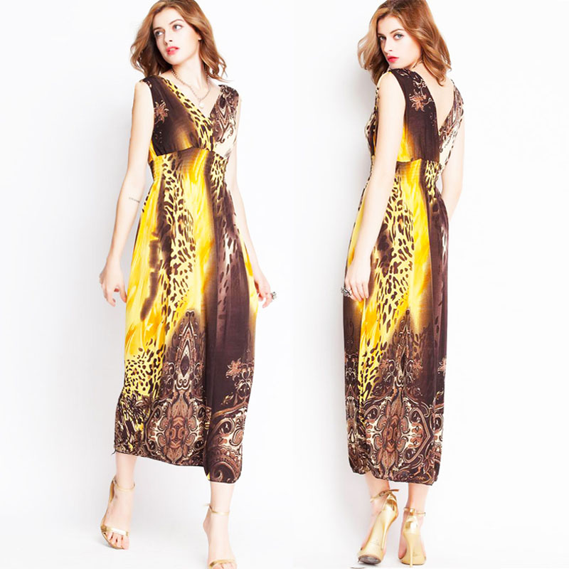 0906a6508bf Plus Size Women Maxi Long Summer Dress Silk printing V Neck Casual Sexy  Beach Bohemian Dress robe longue