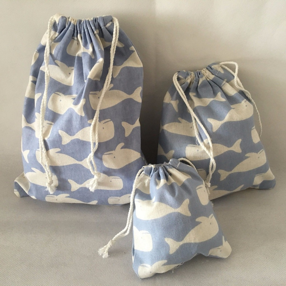 YILE Cotton Linen Travelling Clothing Sorted Pouch String Closure Multi-purpose Bag  Gift Bag White Whale Light Blue N625