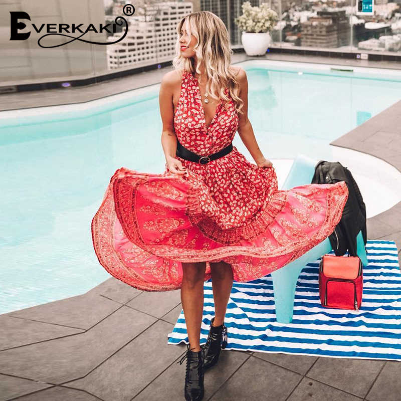 ba10cb5ba753 ... Everkaki Red Boho Maxi Dress Women Cotton Floral Print Sleeveless Party  Dress Elegant Loose Bohemian Long ...