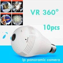 Оптовая продажа 10 шт. VR 360 градусов Wi-Fi Рыбий глаз камеры V380 программного обеспечения беспроводной панорамный Light сети лампочки аудио