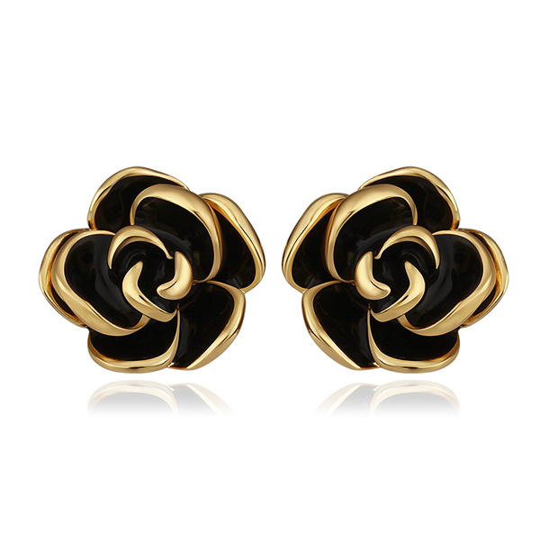 Flower Gold-Color Stud Earrings For Women Bijoux Piercing Bijouterie Brinco Plata Ear Rings Earings Fashion Jewelry E922/1
