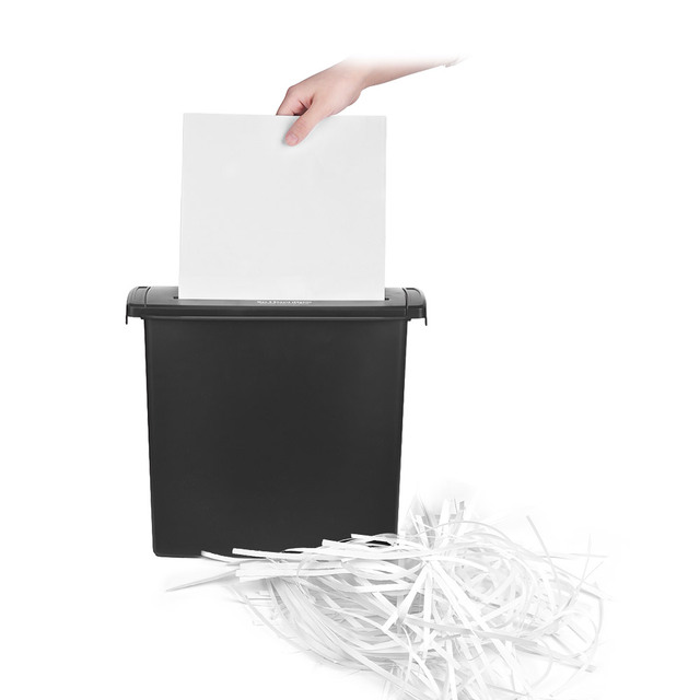 Compact Size Automatic A4 Paper Shredder 5 Sheet Strip Cut With 10l Wastebasket For